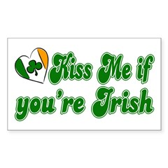 Kiss Me if You're Irish Rectangle Decal
