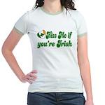 Kiss Me if You're Irish Jr. Ringer T-Shirt