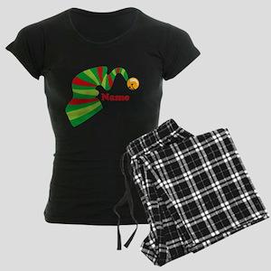 Personalized Elf Hat Women's Dark Pajamas