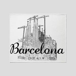 Barcelona_10x8_MessageBag_LaSagradaF Throw Blanket