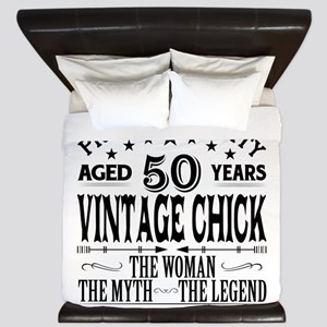 VINTAGE CHICK AGED 50 YEARS King Duvet