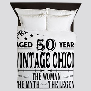 VINTAGE CHICK AGED 50 YEARS Queen Duvet