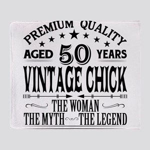 VINTAGE CHICK AGED 50 YEARS Throw Blanket