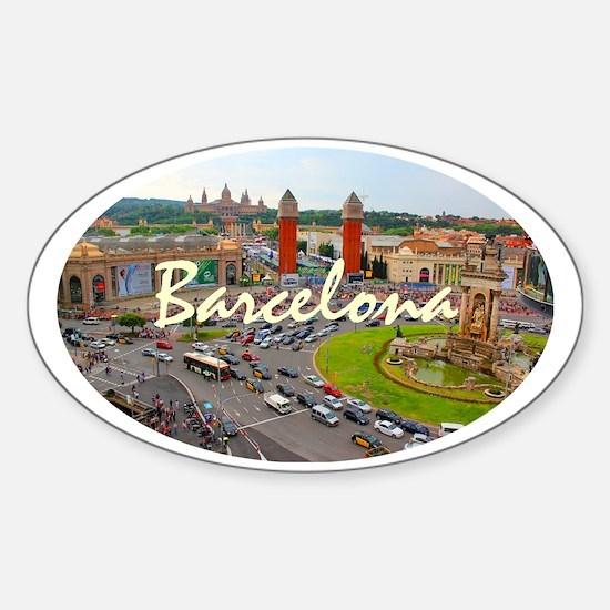 Barcelona_4.58x2.91_tmug_PlazaDeEsp Sticker (Oval)