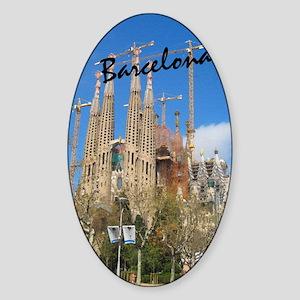 Barcelona_5.5x8.5_Journal_LaSagrdaF Sticker (Oval)
