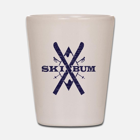 ski bum dark Shot Glass