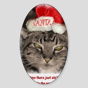 christmas cat Sticker (Oval)