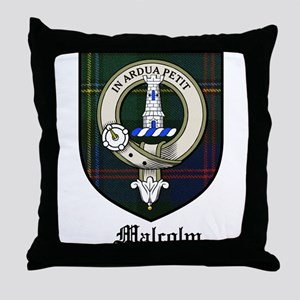 Malcolm Clan Crest Tartan Throw Pillow