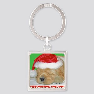 Golden Retriever Puppy Christmas G Square Keychain