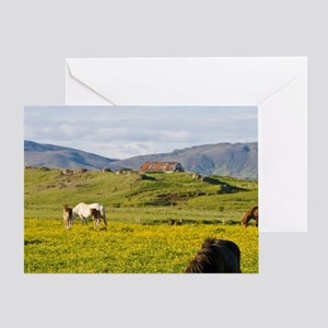Icelandic Horses in northeastern Ice Greeting Card