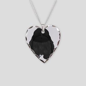 BlackCockerShirtBack Necklace Heart Charm