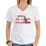 I Witch You A Happy Halloween Women's V-Neck T-Shi