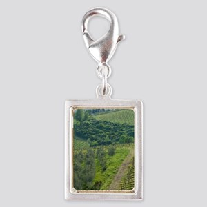 Tuscany. Steep hills of vine Silver Portrait Charm