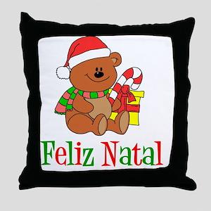Feliz Natal Baby Shirt Throw Pillow