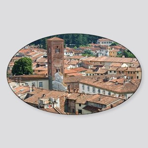 View of Lucca from Torre Guinigi, L Sticker (Oval)