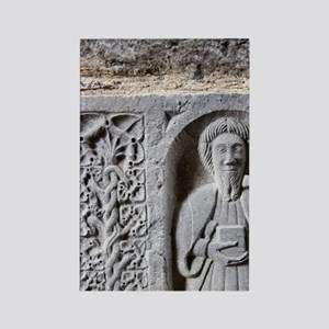 Medieval stone carving of a Saint Rectangle Magnet