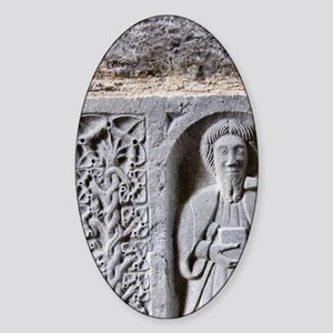 Medieval stone carving of a Saint a Sticker (Oval)