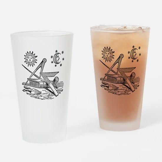 Masonic Woodcut Drinking Glass