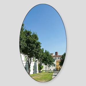 Le Mura, The City Walls, Lucca, Tus Sticker (Oval)