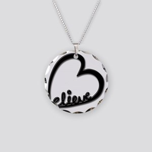 BelieveBlkTransparent Necklace Circle Charm