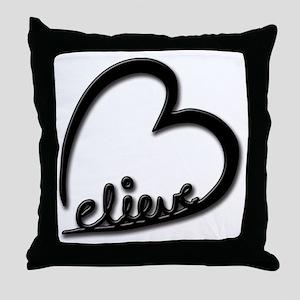BelieveBlkTransparent Throw Pillow