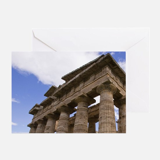 Paestum. Close-up of the Temple of N Greeting Card