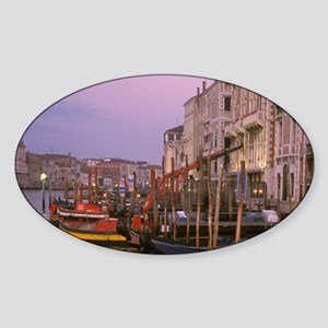 Italy, Venice, gondolas docked alon Sticker (Oval)