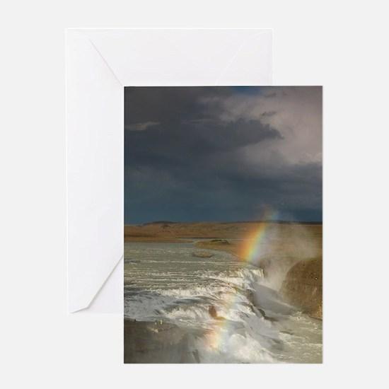 Iceland. A rainbow arcs over the upp Greeting Card