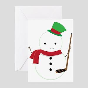 Hockey Sports Snowman Greeting Cards