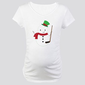 Hockey Sports Snowman Maternity T-Shirt