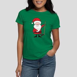 Hockey Sports Christmas Santa Women's Dark T-Shirt