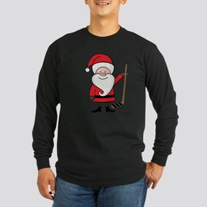 Hockey Sports Christmas Santa Long Sleeve Dark T-S