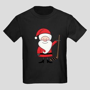 Hockey Sports Christmas Santa Kids Dark T-Shirt