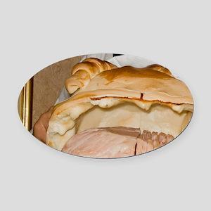 Cento. Waiter presents a ham prepa Oval Car Magnet