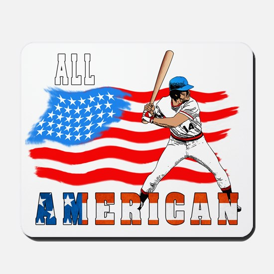 All American BaseBall player white Mousepad