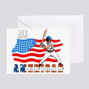 All American BaseBall player white Greeting Card