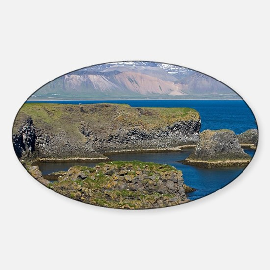 View of basaltic rock formations on Sticker (Oval)