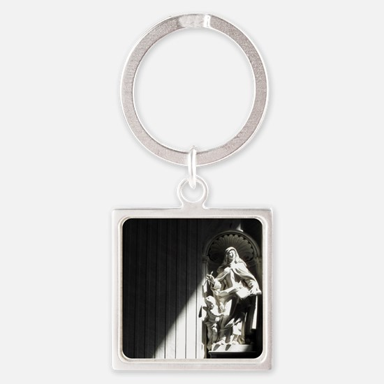 Inside St. Peter basilica in Rome, Square Keychain