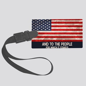 people-stands-OV Large Luggage Tag