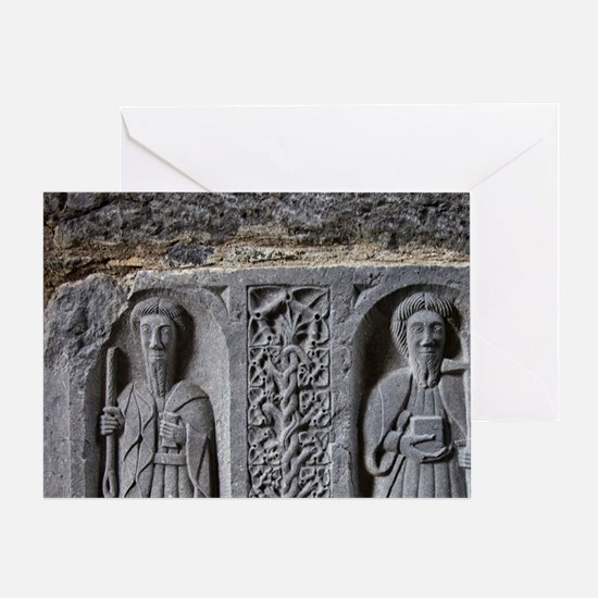 Medieval stone carving of Saints at  Greeting Card