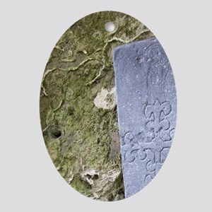 Medieval stone crarved headstone at  Oval Ornament