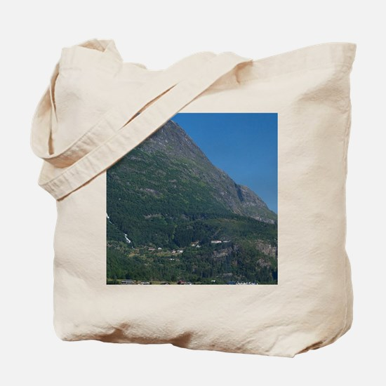 In port at Geiranger. UNESCOanger. Cruise Tote Bag