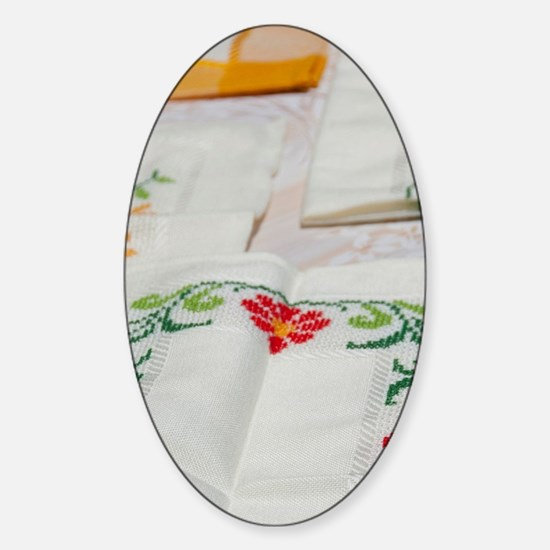 Famous hand-stitched embroideryal.  Sticker (Oval)