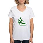 Green Sailboat Women's V-Neck T-Shirt