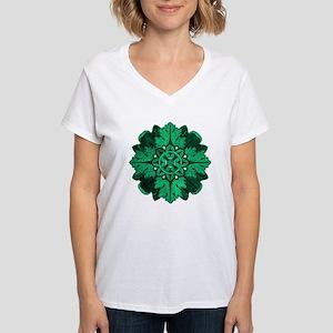 Green Parquet Women's V-Neck T-Shirt