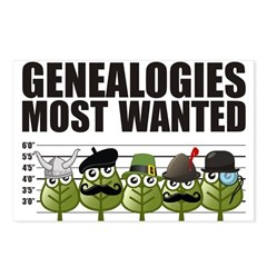 Genealogies Most Wanted Postcards (Package of 8)