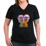 Be Kind To Animals Women's V-Neck Dark T-Shirt