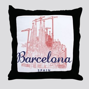 Barcelona_7x7_LaSagradaFamilia_BrownB Throw Pillow