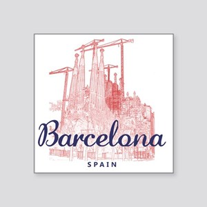 """Barcelona_7x7_LaSagradaFami Square Sticker 3"""" x 3"""""""