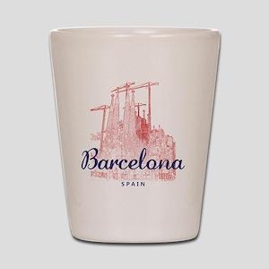 Barcelona_7x7_LaSagradaFamilia_BrownBlu Shot Glass